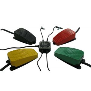 USB 12 Switch Interface with Black, Red, Green and Yellow Commercial Foot Switches