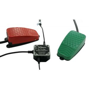 USB 12 Switch Interface with Red and Green Commercial Foot Switches
