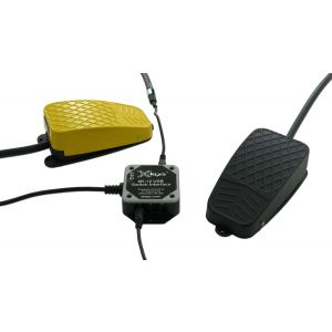 USB 12 Switch Interface with Black and Yellow Commercial Foot Switches