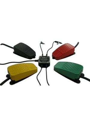 USB 12 Switch Interface bundled with the Black, Red, Green, and Yellow Commercial Foot Switches